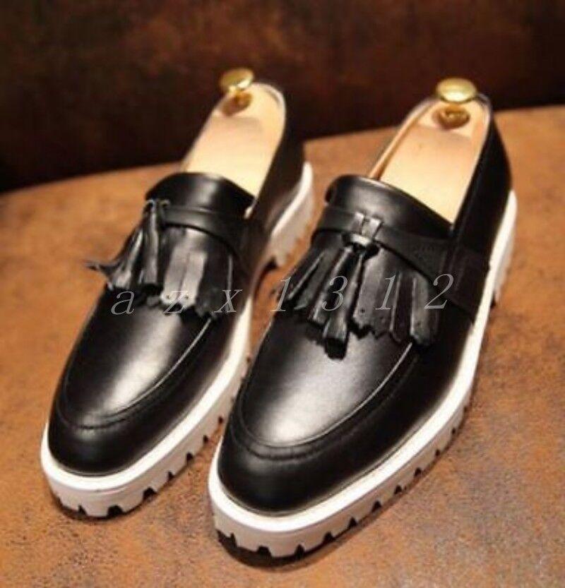 Retro Uomo Round Toe Lace Platform Fringe Pelle Lace Toe Up Shoes Tassel Loafer Pull on 213174