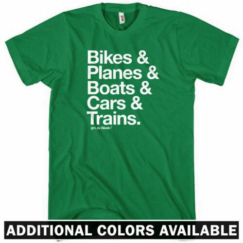 Bikes Planes Boats Cars Trains Tourism  Men How I Travel T-shirt Kids XS-4XL