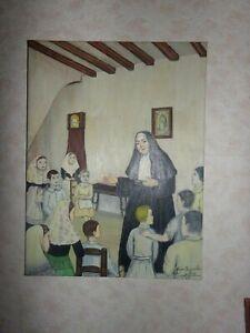 LA-RELIGIEUSE-ET-LES-ENFANTS-HUILE-SUR-TOILE-SIGNEE