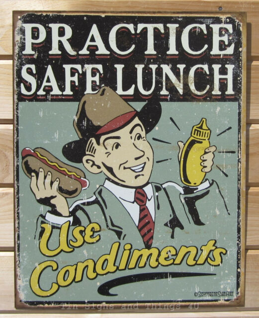 Practice Safe Lunch Use Condiments TIN SIGN funny hot dog retro diner decor 1489