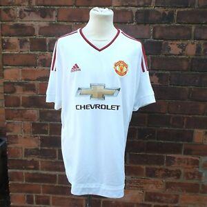 Manchester United 2015 16 AWAY SHIRT ADIDAS Bianco Uomo XL CHEVROLET manica corta