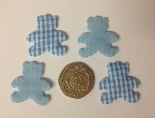 20 Blue Or Pink Gingham Fabric Bears New Baby Card Making Craft Embellishments