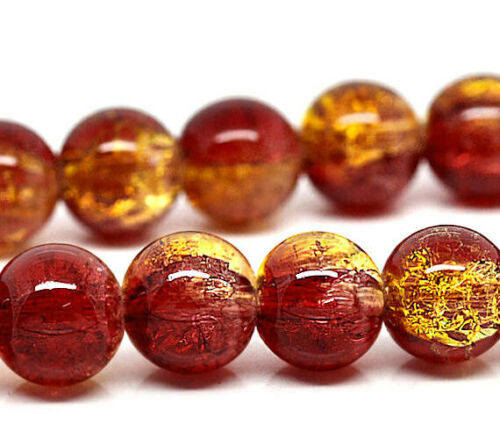 Two tone Red and Gold BD052 15 Crackle Glass Beads 10mm