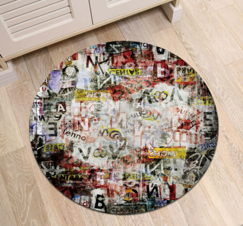 Hip Hop Music Retro Graffiti Room Round Floor Mat Living Room Area Rugs Carpet