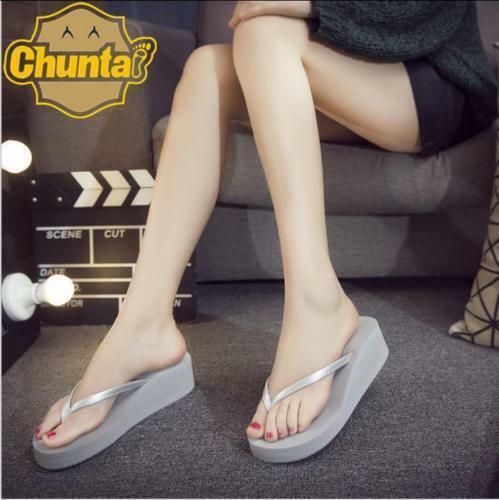 Fashion Summer Womens Wedge Heel Platform Thong Flip Flops Slipper Casual Shoes