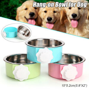 15cm-Hang-on-Bowl-For-Pet-Dog-Cat-Crate-Cage-Food-Water-Bowl-Stainless-Steel