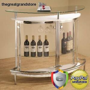 Image Is Loading Contemporary White Home Bar Unit Gl Wood Furniture