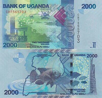 UGANDA 2000 2,000 SHILLINGS 2017 P 50 FISH UNC LOT 5 PCS