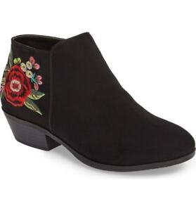 2dcbf8309c8f5 Image is loading KIDS-GIRLS-SAM-EDELMAN-BOOTS-Petty-Black-Embroidered-