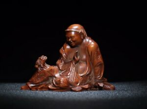 Noble china feng shui natural Boxwood Liu Hai plays Golden Toad Statue figurines