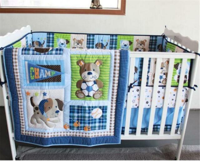 Sports Puppy Baby Crib Cot Bedding Quilt Per Sheet Dust Ruffle Set Of 4pcs A