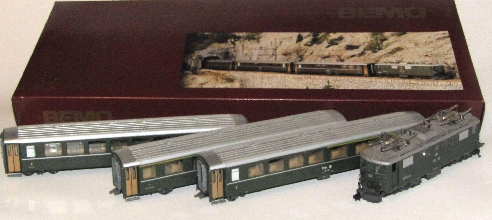 BEMO treno rapido-Set Rhätische Bahn M. ge 4 4, 4, 4, h0m, analogico, art.7215 100, OVP fec0b6