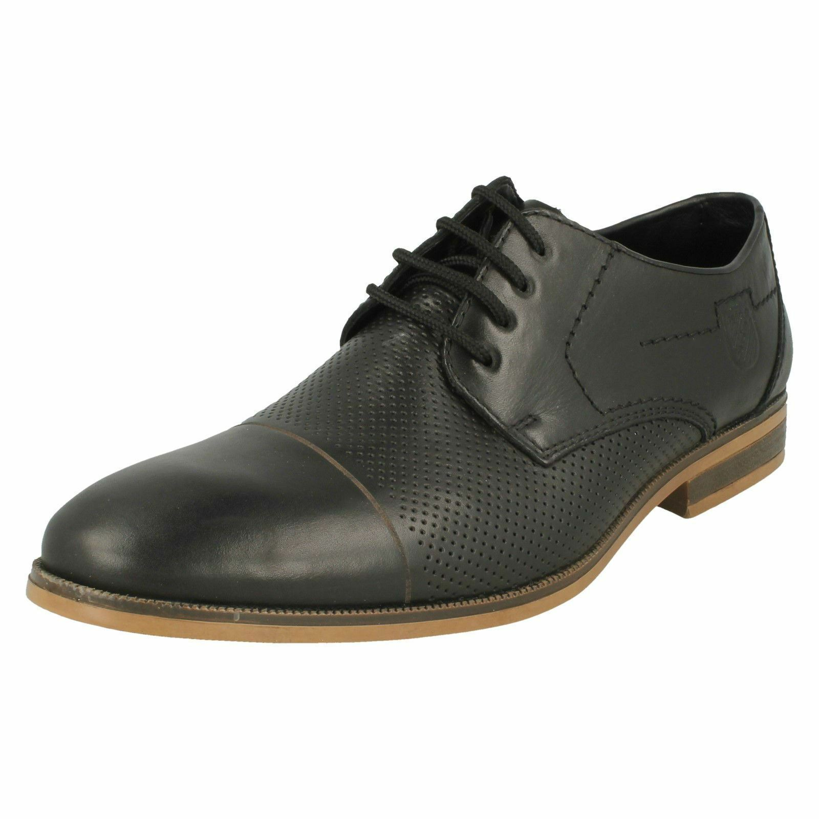 Mens Rieker 11615 Black Leather Smart Casual Lace Up Shoes