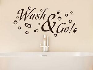 Details zu Wandtattoo Wandaufkleber Tattoo für Badezimmer Sprüche Bad Wash  & Go! Blasen
