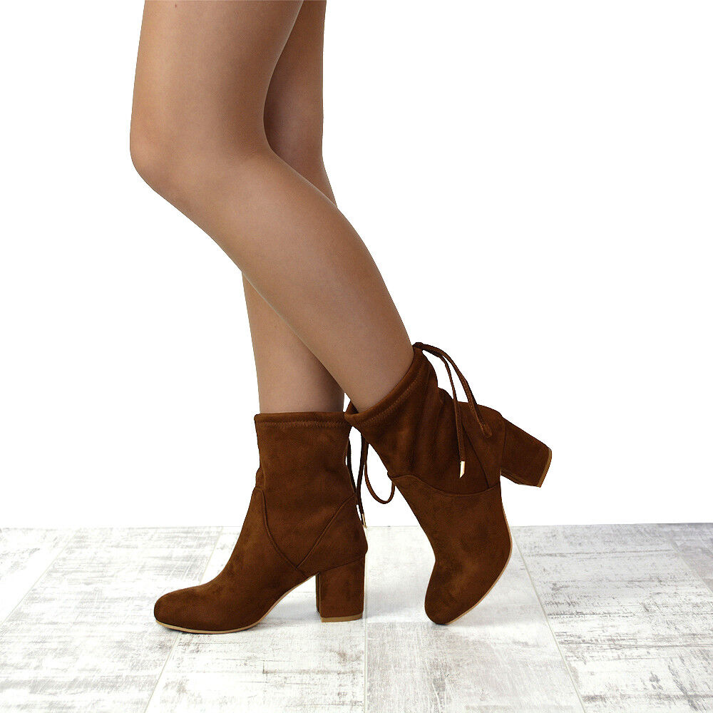 Womens Ankle Boots Chelsea Block Heel Stretch Stretch Heel Ladies Pull On Booties Size 3-8 b719e9