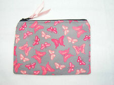 Butterfly Pink & Grey Fabric Handmade Coin Purse