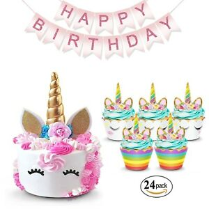 Image Is Loading Unicorn Cake Topper Amp Cupcake Wrappers Birthday Banner