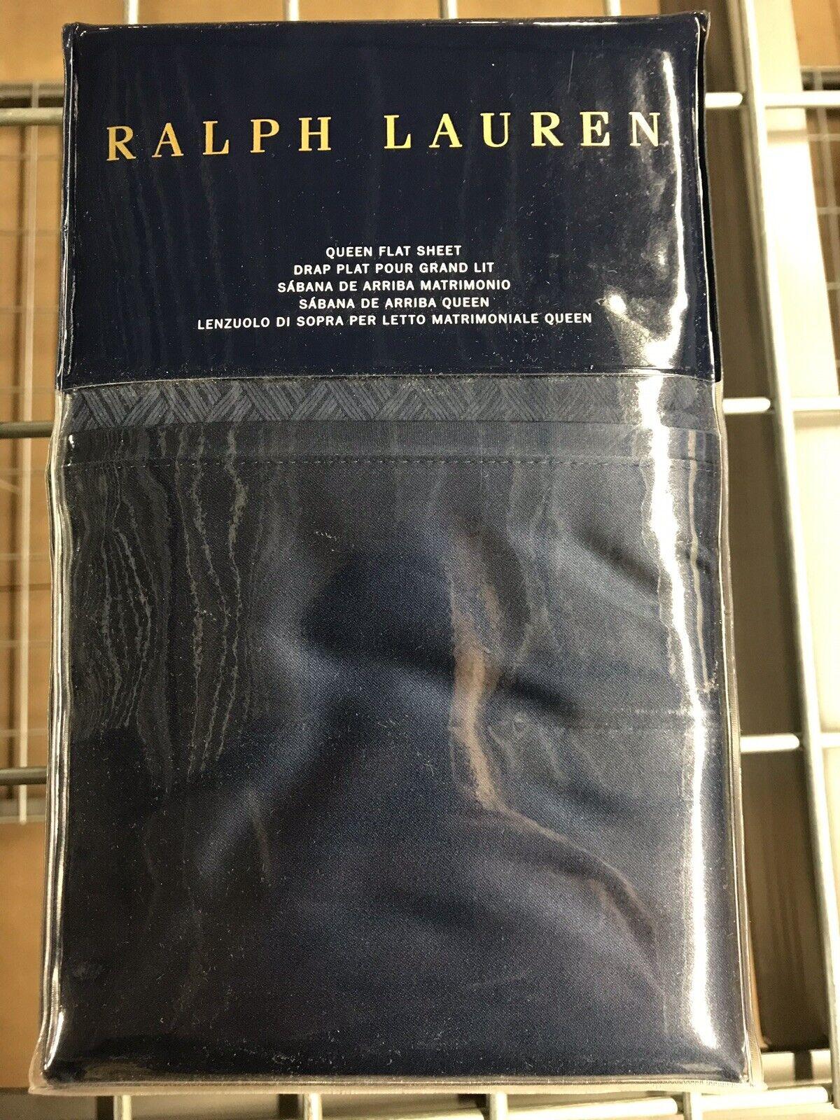Ralph Lauren Bedford Queen Flat Sheet Highland Navy  230 Retail