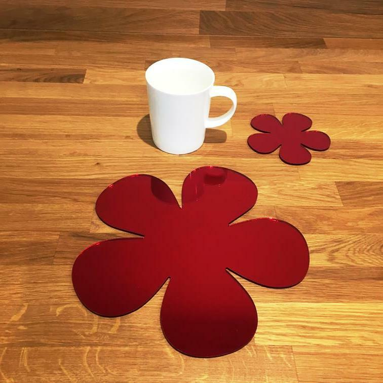 Daisy Shaped Shaped Shaped rot MirrGoldt Gloss Finish Acrylic Placemats & Coasters 4, 6 or 8 c81674