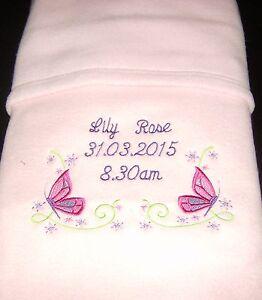 PERSONALISED FLEECE BLANKET GIRLS COT PRAM CRIB PINK NEWBORN BABY GIFT POOH