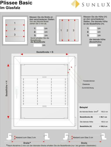 Montage Im Glasfalz GRAU SUNLUX24 Up/&Down Plissee Falt-Rollo AUF MASS