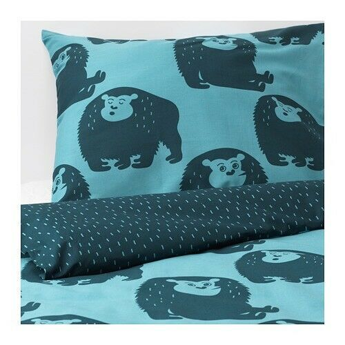 DJUNGELSKOG Duvet cover and pillowcase(s), monkey, bluee, Twin