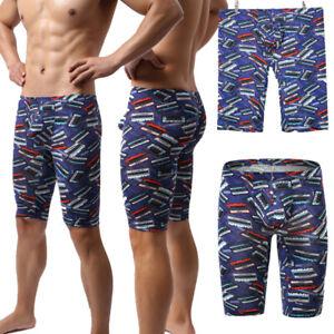 Mens Underwear Boxer Shorts Print Long Leg Sport Pants Penis Pouch Sleep Bottoms