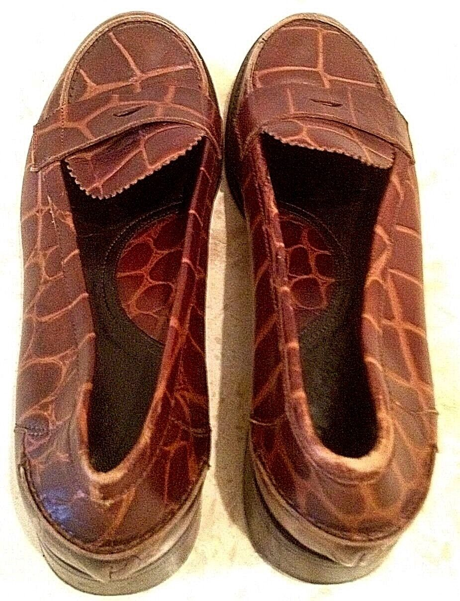 VIA SPIGA Croc Croc Croc Brown Leather Loafers Flat shoes  8.5M ONLY WORN TWICE  Nice e9c745