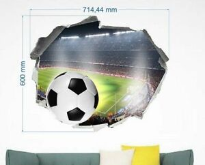 ad9c87ef Details about FOOTBALL STADIUM WALL STICKERS 3D LOOK BALL BOYS KIDS BEDROOM  WALL DECAL 60X74cm