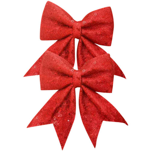 CHRISTMAS BOWS GLITTER SEQUIN DECORATIONS VINTAGE CHRISTMAS TRIMMINGS XMAS ROOM