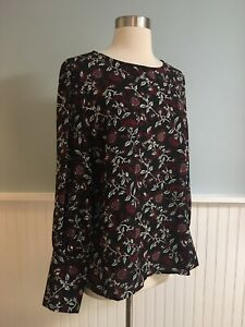 Size-XL-MICHAEL-KORS-Women-s-Black-Red-Floral-Shirt-Top-Blouse-Extra-Large-NWT
