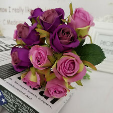 12Head Artificial Silk Fake Rose Flowers Floral Wedding Bouquet Party Home Decor