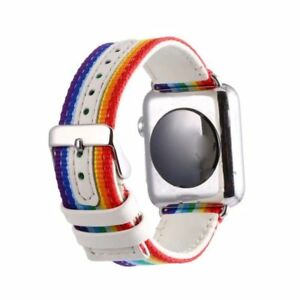 38mm-42mm-for-Apple-Watch-Band-Nylon-Painted-Striped-Watch-Strap-Wrist-brace-GB