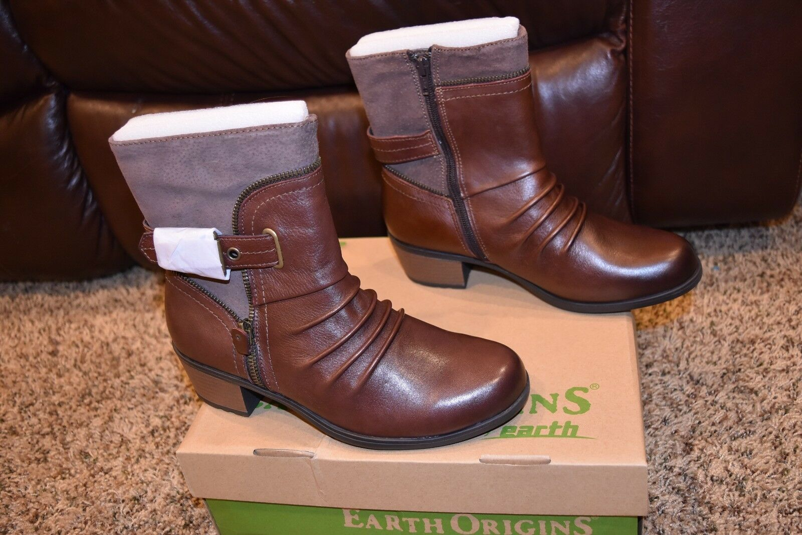 EARTH ORIGINS DOLLY Damenschuhe 8.5 M BROWN SOFT MACCHIATO LEATHER & PIG SUEDE BOOTS