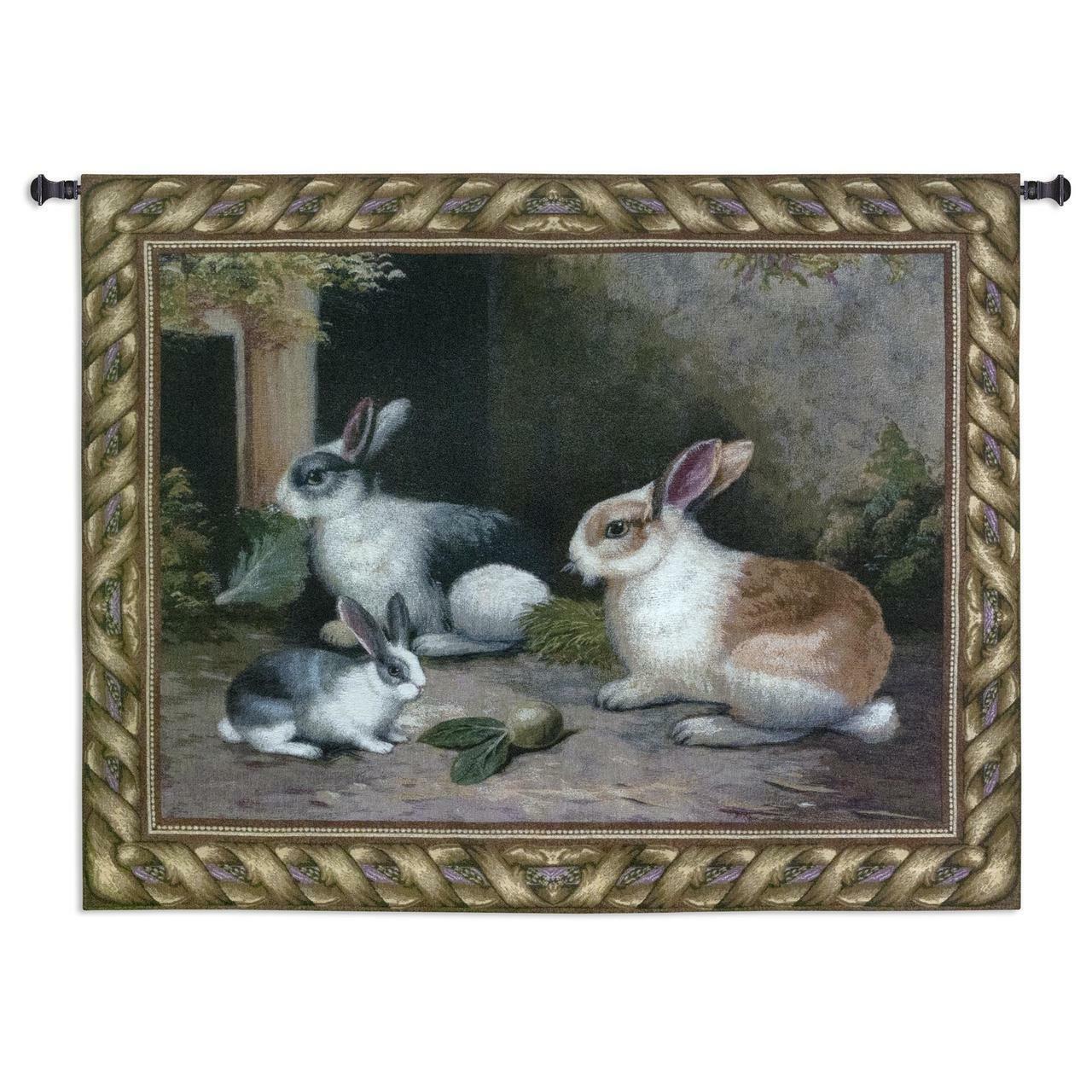 53x40 LAPIN Rabbits Tapestry Wall Hanging