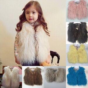 43d12f99f Baby Kids Girls Faux Fur Vest Waistcoat Warm Winter Coats Outwear ...