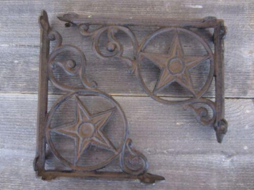 2 Cast Iron Antique Star Brackets Garden Braces Shelf Bracket RUSTIC Vintage WOW