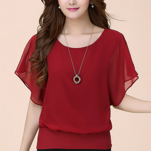 Batwing Sleeve Women Chiffon Blouse Shirts Loose Solid Tops O Neck Casual Office
