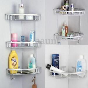 Image is loading 3-Layers-Triangular-Shower-Shelf-Bathroom-Corner-Rack-