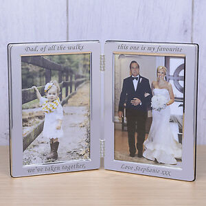 Personalised Dad Of All The Walks Double Frame 6x4 Wedding Father Of