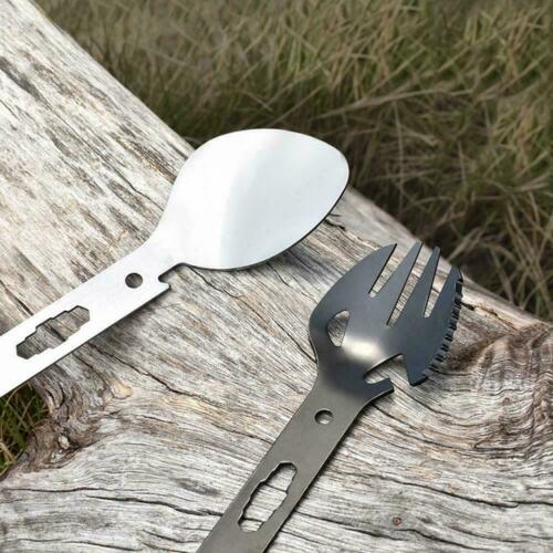 8 in 1 Titanium Fork Spoon Spork Cutlery Utensil Combo Hiking Camping Tool Oiusy
