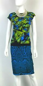 Roberto-Cavalli-4-US-38-IT-S-Blue-Green-Stretch-Knit-Bodycon-Dress-Runway-Auth