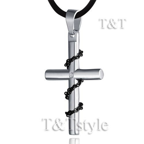 T/&T Stainless Steel Cross Pendant Necklace CD37