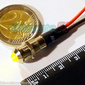 SPIA-LED-GIALLO-12V-DC-METALLO-TONDO-8mm-auto-moto-camper-nautica-segnalatore