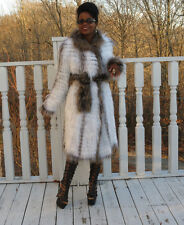 New Designer Saks Reversible feathered black Silver  White fox Fur Coat  S-M 0-9