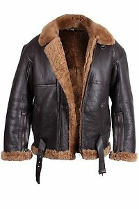 Men RAF Aviator Real Sheepskin Leather Jacket Bomber Flying ...