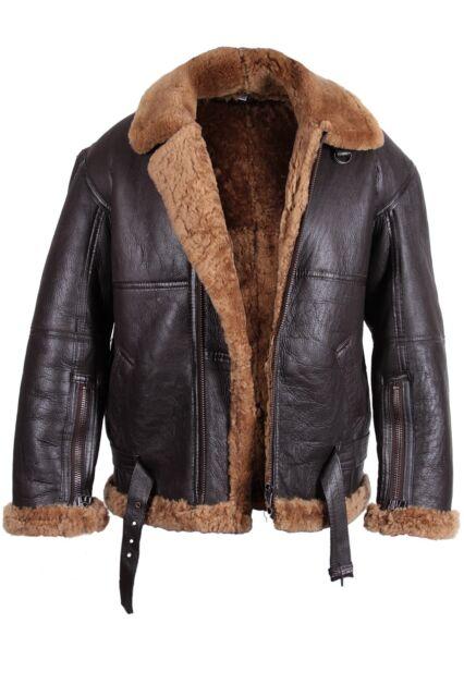 Bomber Flying Jacket Mens Aviator B3 Ginger Real Shearling Sheepskin Leather