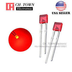 100Pcs 2x3x4mm Rectangle Bi-Color Red//Green Common Cathode Diffused LED Diodes