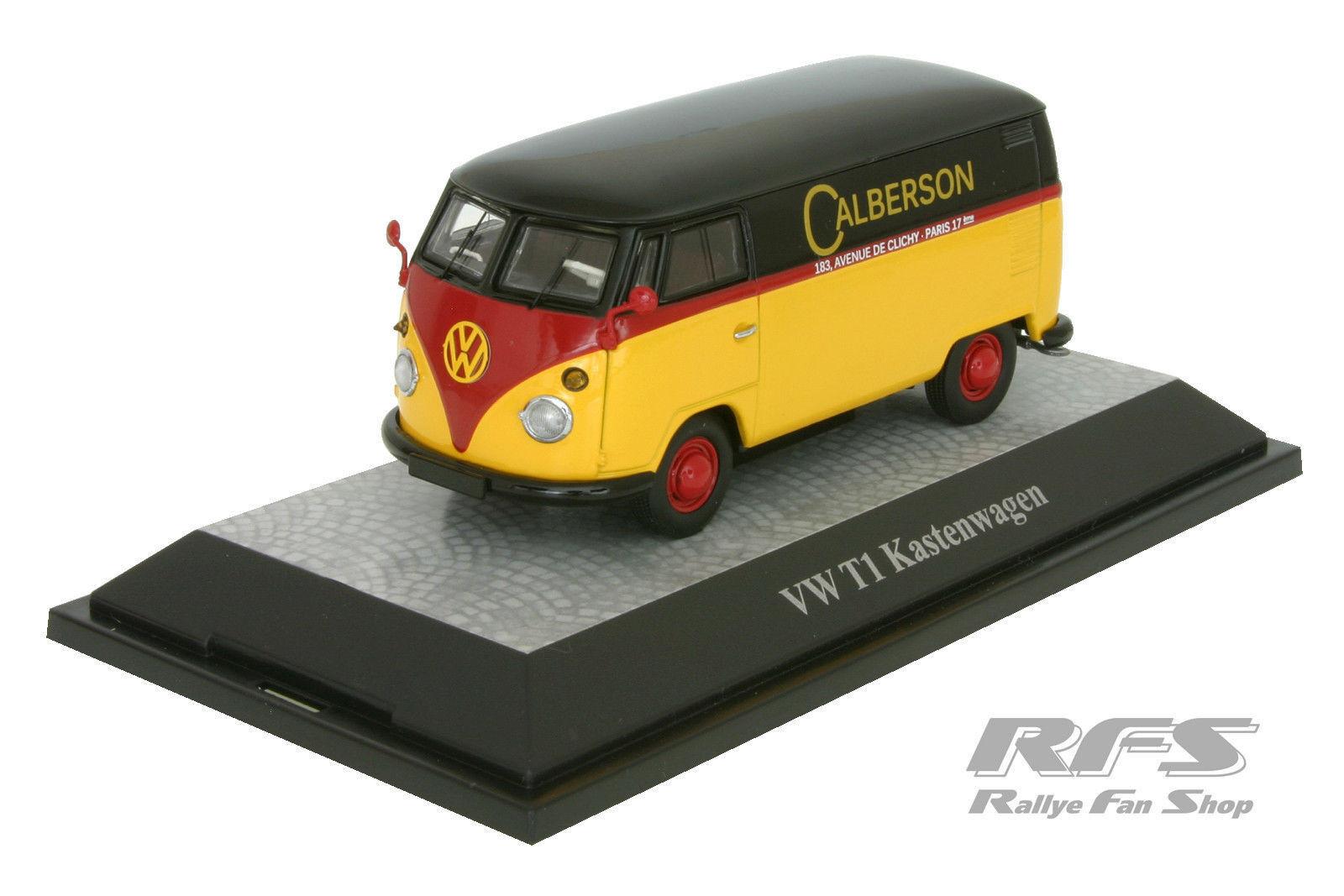 Vw t1 kastenwagen - calberson - schwarz   rot   gelb - 1 43 pc 13803