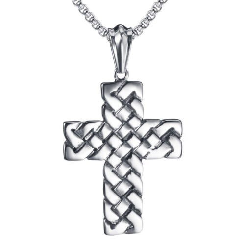 Men/'s Large Silver Cross Solid Stainless Steel Pendant Tag Chain Necklace Set